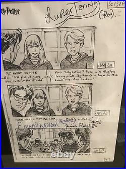 Harry Potter Rare Production Used Storyboard Sheet Signed By Harry Hermione Ron