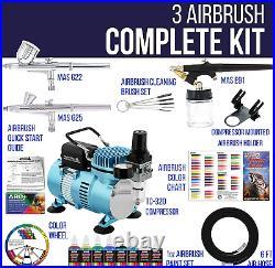Mini compresor aerografo kit set aerografos con compresor profesional y pintura